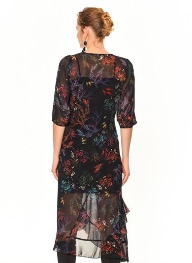 Random Çiçekli Volanlı Midi Şifon Elbise Siyah